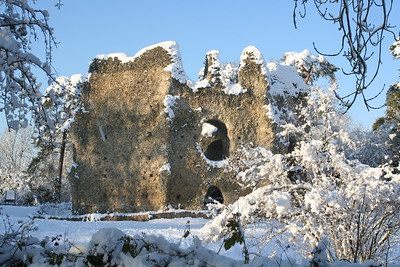 Odiham Castle in snow