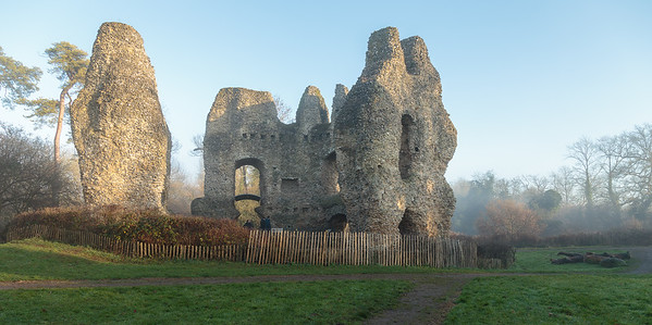 Odiham Castle in winter's mist