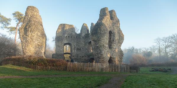 Odiham Castle in winter's mist