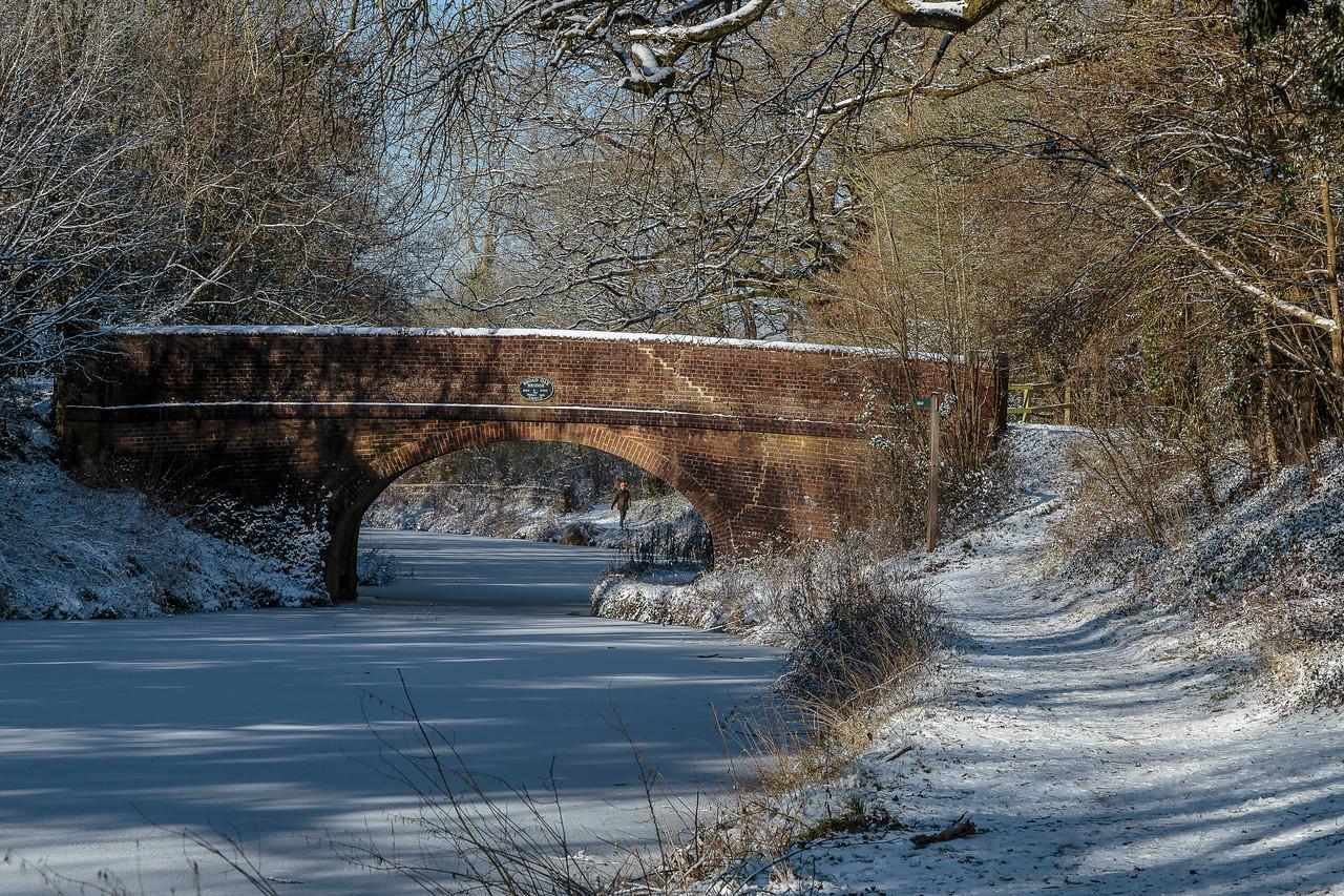 Broad Oak Bridge in the snow, Basingstoke Canal
