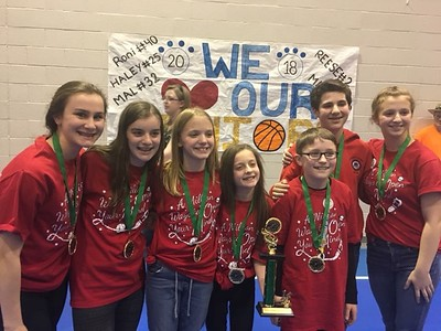Williamsport Area Middle School, Division 2, Problem 3, Classics: From left is Mairead Ferry, Mia Clark, Sydney Kelley, Lisa Lewis, Jack Klingler, Ben Manetta and Kendall Kelley. Coached by Beth Lewis and Liz Manetta (not pictured).