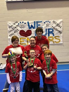 Cochran Primary School, Division 1, Problem 5, Theatrical: Emily Frank, Alex Vail, Brayden Harpster (back) and Cooper Gutberlet. Not pictured: Roslyn Perry, Sophia Butler.  Coached by Matt Gutberlet (back right) and Melanie Vail (center), assisted by April Frank.