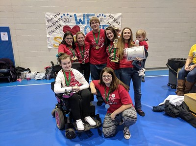 Williamsport Area High School, Division 3, Problem 1, Vehicle:  From back left is Halle Clark, Hannah Haussmann, Matthew Turner, Emily Smith and Coach Spring Moore. At front from lift is Carlee Weber and Paige Diabelko. Not pictured: Ella Meckley.