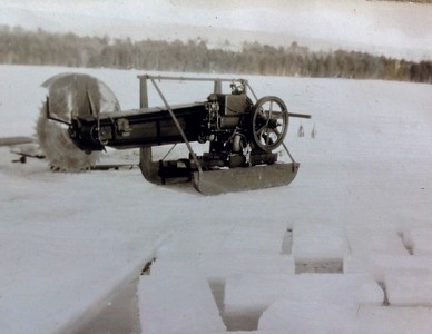Cutting ice on Highland Lake, to use for refrigeration in summer, 1947