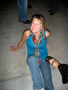 "Nancy did a really fancy dance move.  This is how it turned out.  See how Nancy's smiling just before Cathy's foot lands in her midriff.  Cathy's motto?  ""Kick 'em while they're down!"""