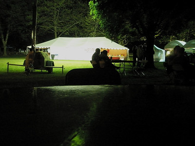 The grounds were well lit after dark...