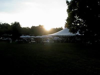 The Sommerfest tent at dusk