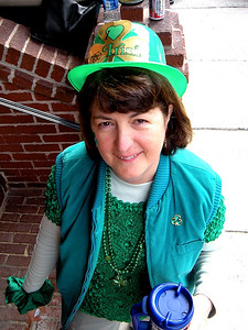 "Irish through and through, Linda showed up for the festivities and joy-making.  As a matter of rumor, as opposed to fact, I heard she was drinking green Irish whiskey in her ""coffee"" cup too.  And if I didn't hear it, I made it up.  Does it matter?"