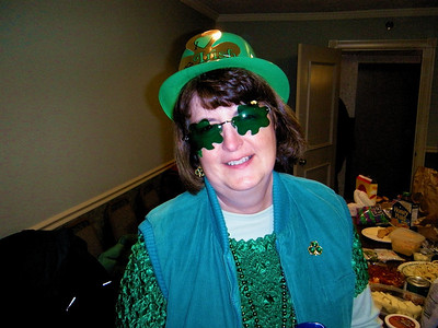 Who is it behind those fancy shamrocks?  Our very own Linda Patricia McAngus-McKearney-O'Shaunessy, the Queen of Belfast, Montana!  Yippee Ki-yea!!
