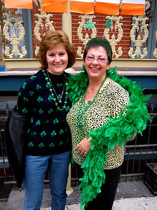 Sharon and Marcy show off their greenery.  At 10:00 AM the streets were virtually empty.  You couldn't do this at 11:30, that's for sure!