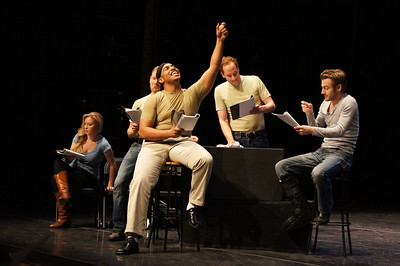 "left to right: Maggie Rastetter, Ryan Tasker, Marcus S.Thompson, Nicholas Pelczar, Patrick Alparone in ""The Last Stand"""