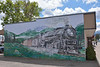 Great Northern train mural<br /> I really can't figure out what loco type this is intended to be...4-8-4?<br /> <br /> Libby. MT.