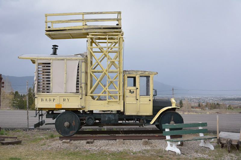 An overhead catenary maintenance rail vehicle based on a Federal Truck body . The initials on the body indicate The Butte, Anaconda & Pacific Railroad<br /> <br /> Museum of Mining, Butte<br /> <br /> 16 May 2014