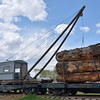 The  log loading crane - look carefully to see its sled runners mounted on the flatcar.<br /> <br /> Fort Missoula Historical Centre<br /> <br /> 17  May 2014