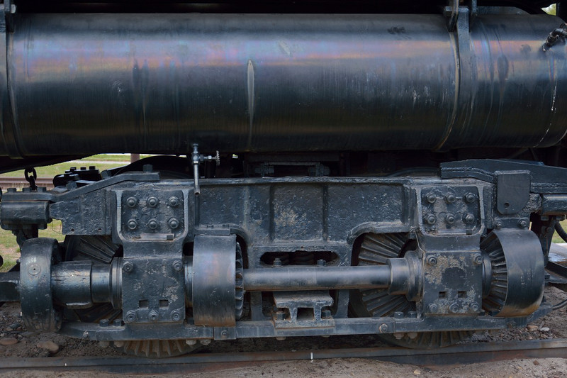 Close up of the Willamette drive shafts<br /> <br /> Fort Missoula Historical Centre<br /> <br /> 17  May 2014