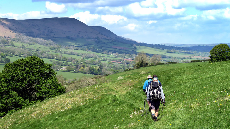 After a lot of field walking the hills loom up ahead.