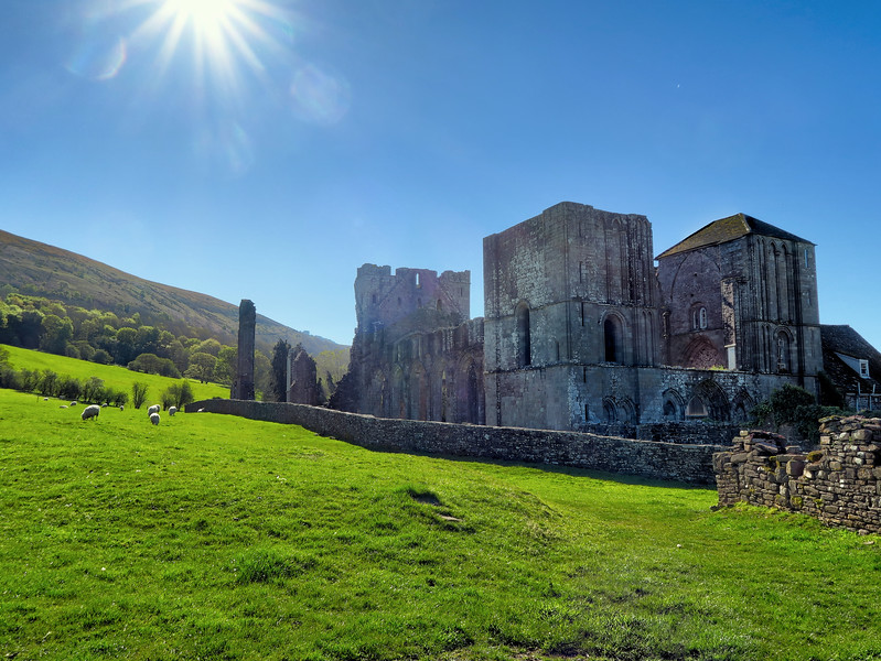 Off again, walking past the Llanthony Abbey.