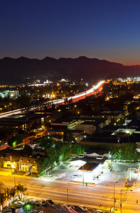 From downtown Glendale California looking west at the 134 freeway towards Griffith Park