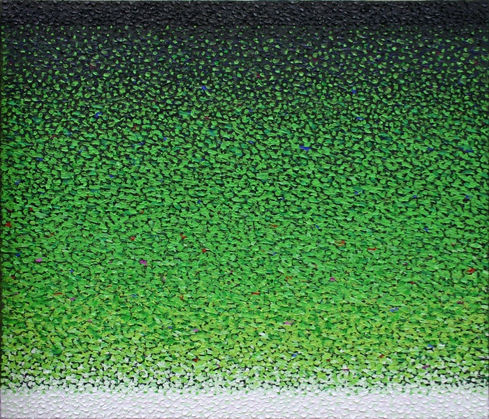 Kuno Gonschior Green/Black/White Landscape, 2007, gel, acrylic on linen, 120 x 140 cm