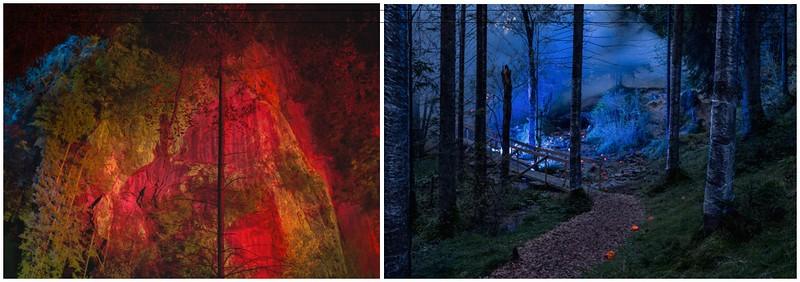 Ingo Bracke, Panorama Klamm (Gorge) Red, 2014, Colour pigment print on acrylic, 70 x 100 cm | Magic Forest, 2008, Colour pigment print on Dibond, 70 x 100 cm