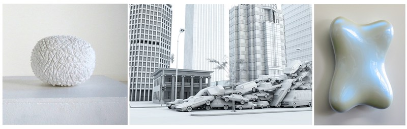 Dieter Kraenzlein, Untitled, 2013, marble, 20 x 23 x 23 cm | Ryu, Ho-Yeol, Stadt, 2006, edition 2 of 5, digital print, 100 x 150 cm | Bill Thompson, Bone, 2010, Acrylic urethane on polyurethane block, 72 x 57 x 13 cm