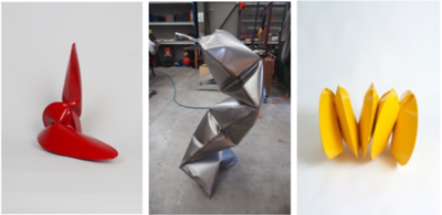 From left to right:  BRADDON SNAPE  Exercises in Red: Movement Two, 2018,  29 x 29 x 18 cm  | Three Chamber Compression (Studio), 2018, Height 150 cm  |  Five Chamber Stretch, 2018, 50 x 45 x 85 cm  |  all: Welded, inflated, powder coated steel