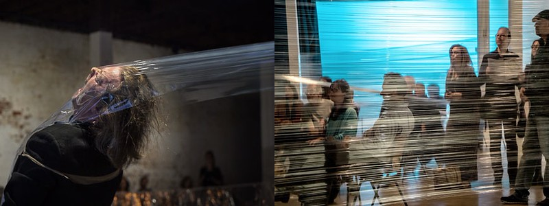 Johannes S. Sistermann, Performance [Transducer / Voice / Body / Glad Wrap] 2015  | Performance View - Space / PII WP Perth - 2015 - Composer
