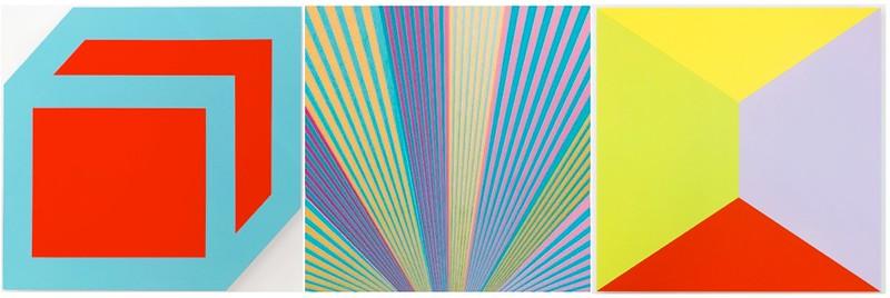 Brent Hallard, GONG (red, blue), 2016, Acrylic on honeycomb aluminium, 52.5 x 61.5 cm | Edgar Diehl, Jupiter VIII, 2012, Acrylic on aluminium, 70 x 70 x 5 cm | Brent Hallard, Dandelion, 2016, Acrylic on honeycomb aluminium, 60 x 60 cm