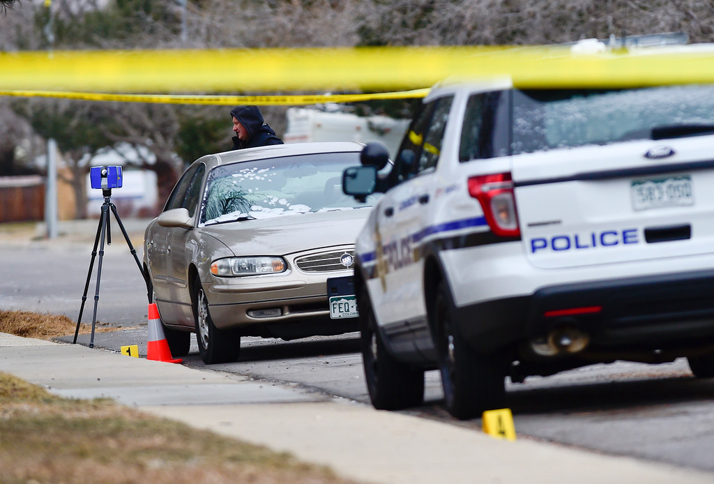 . LONGMONT, CO - DECEMBER 31:Longmont Police on the scene of a fatal officer involved shooting on the 2200 Block of Pratt Street in Longmont on Dec. 31, 2018. (Photo by Matthew Jonas/Staff Photographer)