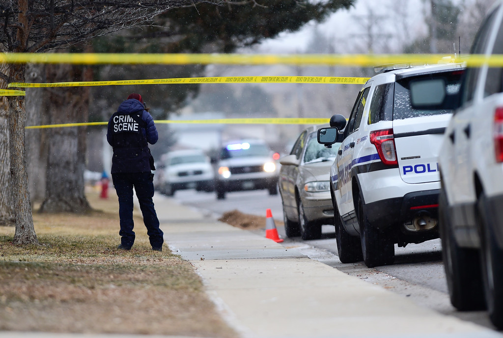 . LONGMONT, CO - DECEMBER 31:Longmont Police crime scene investigators gather evidence at the scene of a fatal officer involved shooting on the 2200 Block of Pratt Street in Longmont on Dec. 31, 2018. (Photo by Matthew Jonas/Staff Photographer)
