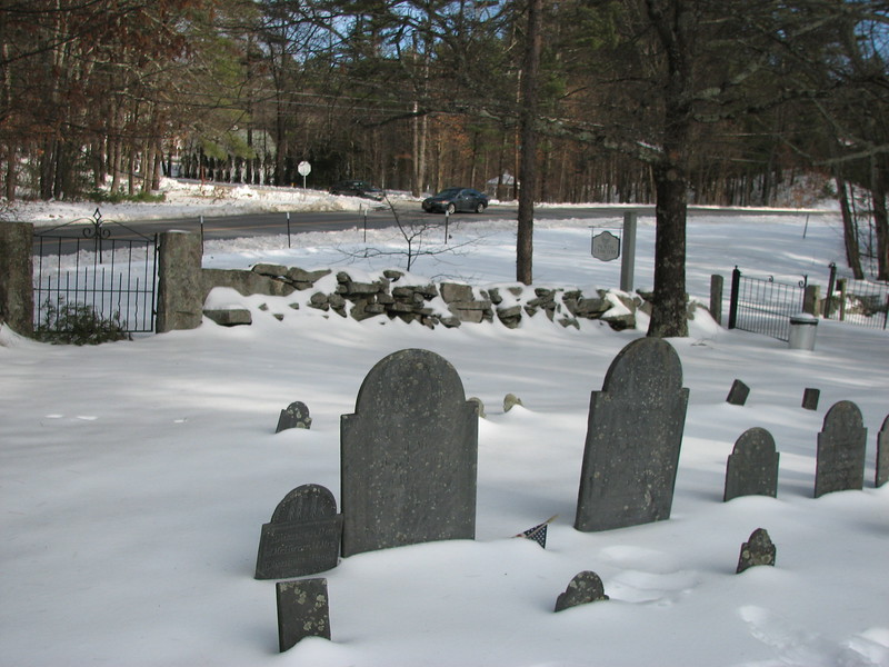 Abijah's grave is at left-center, with his wife's at right-center. They died a day apart. To help with finding the grave, note the iron gate in the left background. Silver Lake Road (Rt 122) is beyond the gate.  The entrance road of the cemetery is to the right in this photo.