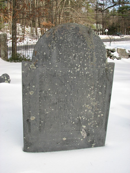 "Gravestone of his wife, who died the day before Abijah.<br /> ""In loving memory of Mrs. Esther, wife of Mr. Abijah Wood, who died Sept.24, 1819, Aet 75"""