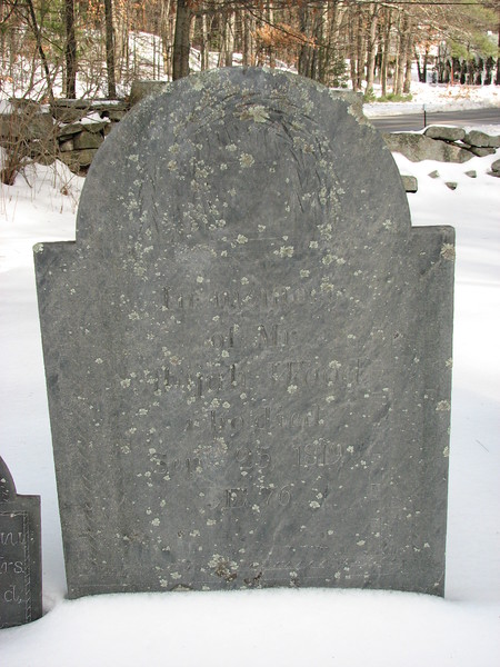 "Abijah Wood's gravestone<br /> ""In memory of Mr. Abijah Wood who died Sept. 25, 1819 Aet 76"""