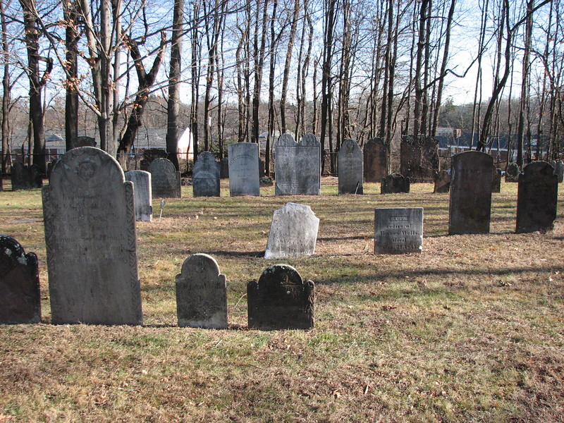 The grave of Bayze Wells is the tipped white stone in the center of this photo.