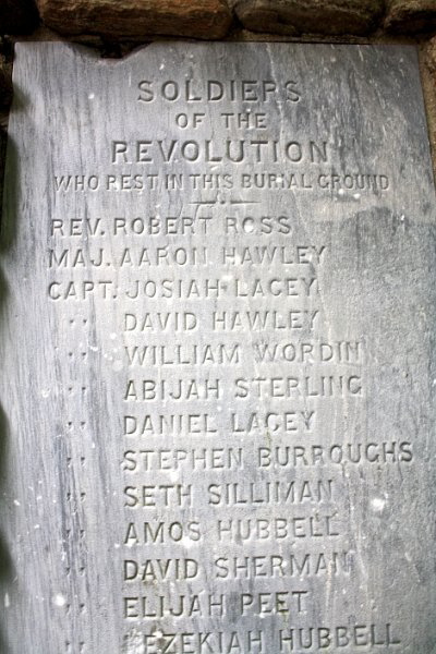 Engraving on the left pillar of the cemetery gate on Brooklawn Av, accessed through Clinton Park. There is no visible gravestone for David Hawley in the cemetery.