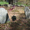The grave of George Berry, marked with a flag. The grave of his wife Abigail is to the right. It is easy to find in this small cemetery.