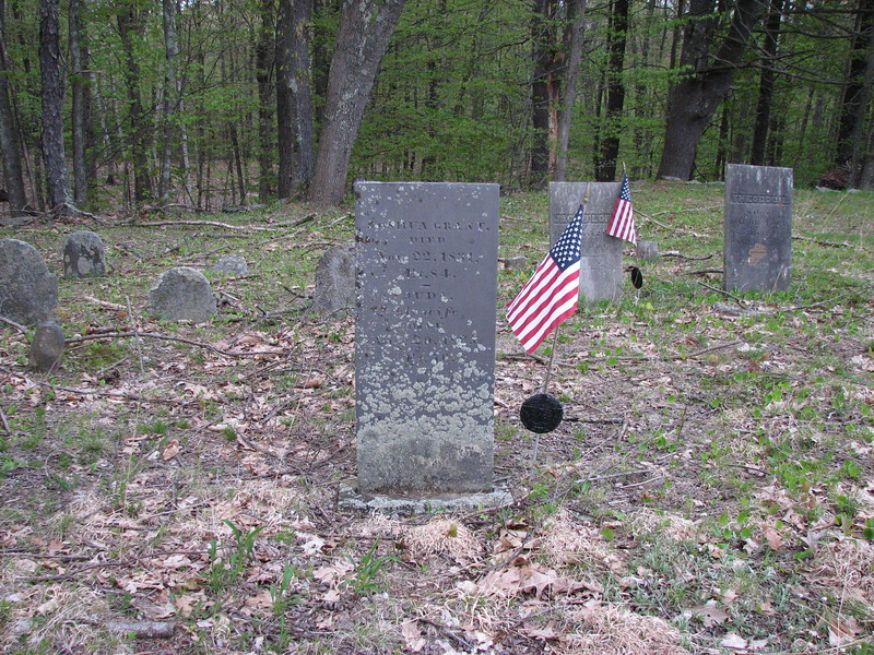 Grant's gravestone is in the center of the small cemetery