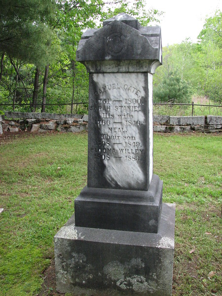 The family memorial in the center of the small cemetery, Samuel's name appears at the top of the left side of the monument, shown here.