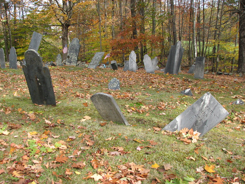 Priest's gravestone is on the right in this photo. It is located in the second row, about 30 feet from the right side of the cemetery.