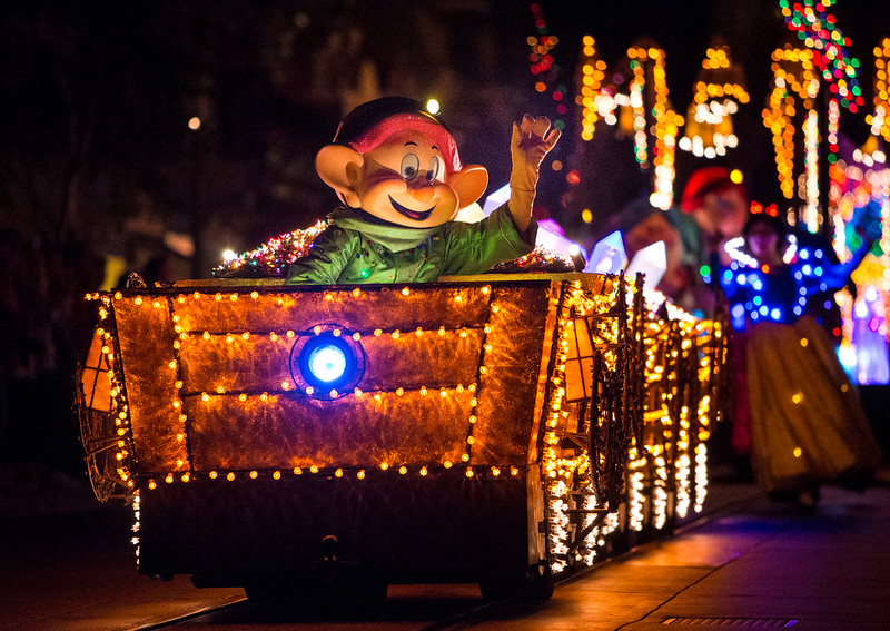 A COLORFUL HOMECOMING – The beloved character Dopey, riding in a mine train filled with sparkling gems and jewels, leads the Snow White and the Seven Dwarfs sequence inspired by the classic 1937 Disney film during the Main Street Electrical Parade at Disneyland park. The Main Street Electrical Parade will run for a limited-time, through June 18, 2017, at Disneyland park. (Scott Brinegar/Disneyland)