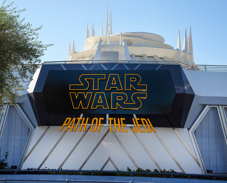 "STAR WARS: PATH OF THE JEDI -- In the Tomorrowland Theater, Disneyland park guests will relive stories from the Star Wars saga – or discover them for the first time - in this short film compilation. ""Star Wars: Path of the Jedi"" connects iconic scenes from the films in fun new ways, following the journey of Luke Skywalker. It includes moments from the new movie ""Star Wars: The Force Awakens."" (Paul Hiffmeyer/Disneyland Resort)"