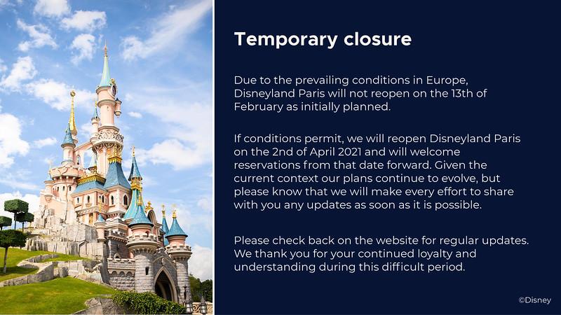 Disneyland Paris extends coronavirus closure estimate through at least Apr 2, 2021
