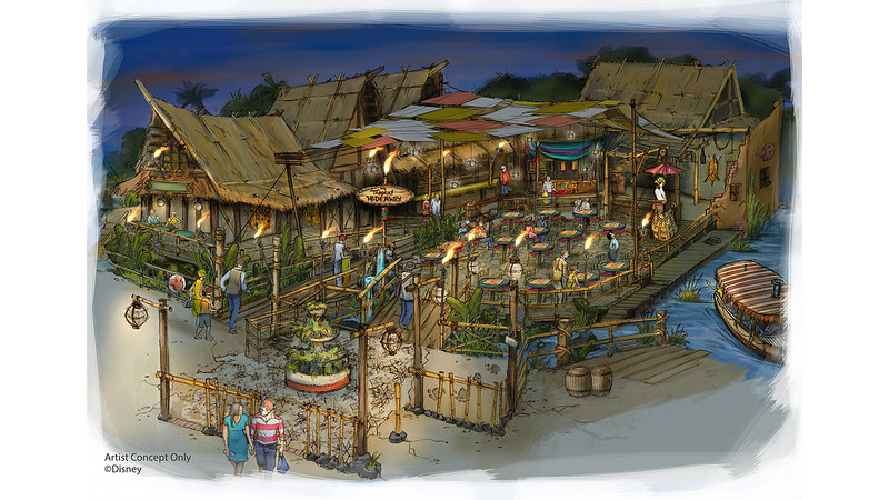 "Calling all adventurers! There will soon be a new area of Adventureland to explore at Disneyland park.<br /> <br /> The former Aladdin's Oasis will soon be transformed to The Tropical Hideaway! This new experience will soon appear along the tropical shores nestled between the Jungle Cruise and ""Walt Disney's Enchanted Tiki Room."" This one-of-a-kind destination will be a popular rest stop for Adventureland locals and weary explorers alike. Guests will be able to rub elbows with their favorite skippers in an exotic traders' market, featuring all of the sights, sounds and flavors of the tropics.<br /> <br /> Keep your eye on the Disney Parks Blog for more information on this exciting new location as more is discovered."