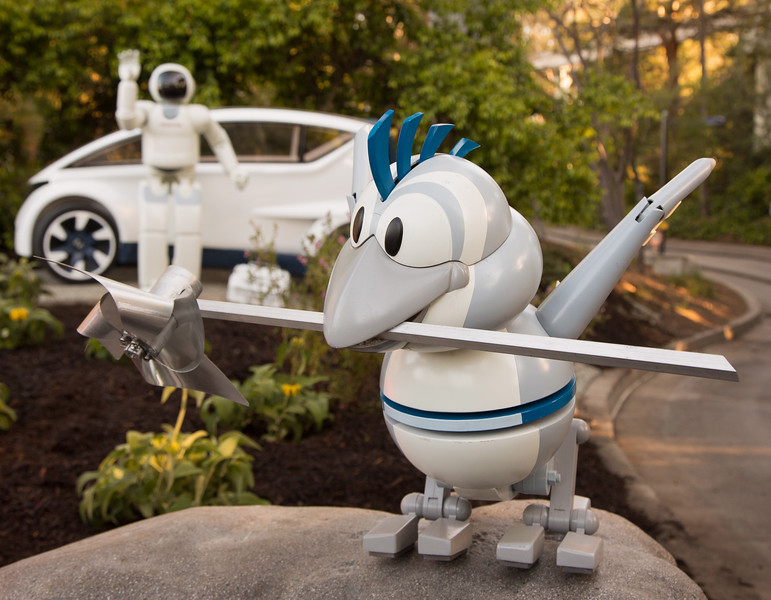 AUTOPIA ENHANCEMENTS (March 24, 2017) Ð New character additions and storytelling enhance the classic attraction Autopia at Disneyland Park in Anaheim, California. HondaÕs ASIMO humanoid robot and its robotic friend, Bird, will now join guests embarking on the ultimate road trip. The new look for Autopia recently debuted in spring 2016 with cars repainted in Honda colors, and new fuel-efficient Honda engines, badges and tires. (Scott Brinegar/Disneyland Resort)
