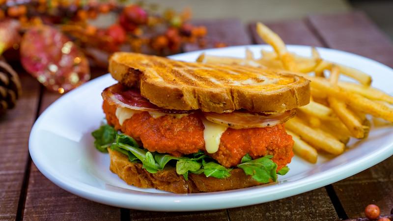Haunted Firehouse chicken sandwich at Carnation Café