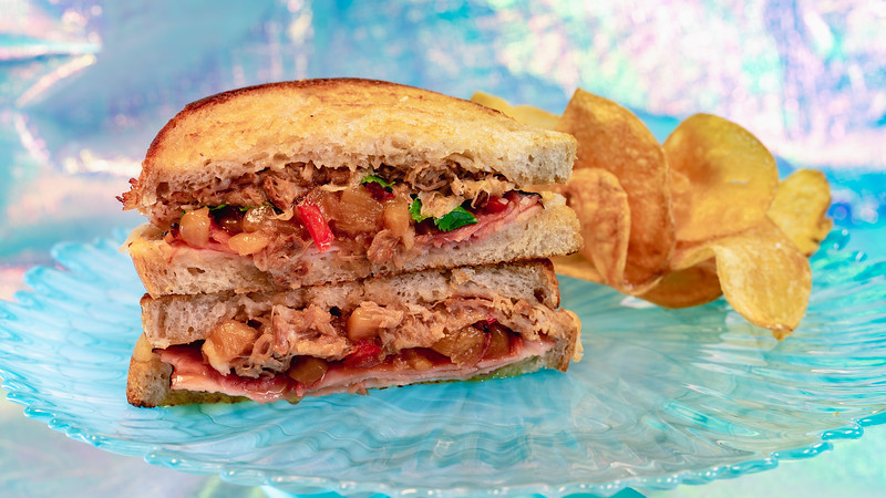 """Magic Happens"" Parade-Inspired Island Pork Toasted Sandwich at Jolly Holiday"