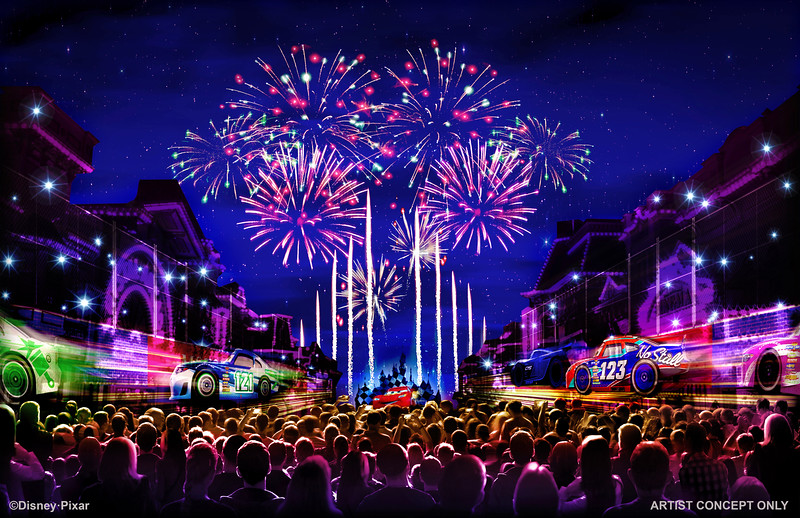 """TOGETHER FOREVER FIREWORKS – """"Together Forever – A Pixar Nighttime Spectacular,"""" will celebrate Pixar stories through the decades as it lights up the sky over Disneyland park, beginning with the debut of Pixar Fest, April 13, 2018. This artist's concept illustrates how guests will be immersed in an emotional journey that begins with the meeting of unlikely Pixar pals and follows them through their adventures. """"Together Forever"""" comes to life through projections on iconic park locations: Sleeping Beauty Castle, the water screens of the Rivers of America, the façade of """"it's a small world"""" and the buildings of Main Street, U.S.A.  (Disneyland Resort)"""