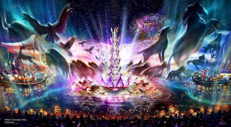 """Rivers of Light"" at Disney's Animal Kingdom – Expected to open next spring, ""Rivers of Light"" will be an innovative experience unlike anything ever seen in a Disney park, combining live music, floating lanterns, water screens and swirling animal imagery. ""Rivers of Light"" will magically come to life on the natural stage of Discovery River, delighting guests and truly capping off a full day of adventures at Disney's Animal Kingdom. (Disney Parks)"