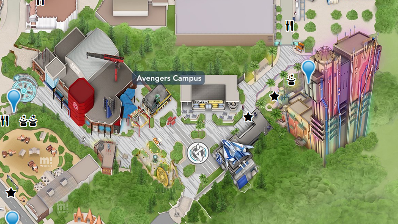 avengers campus official map
