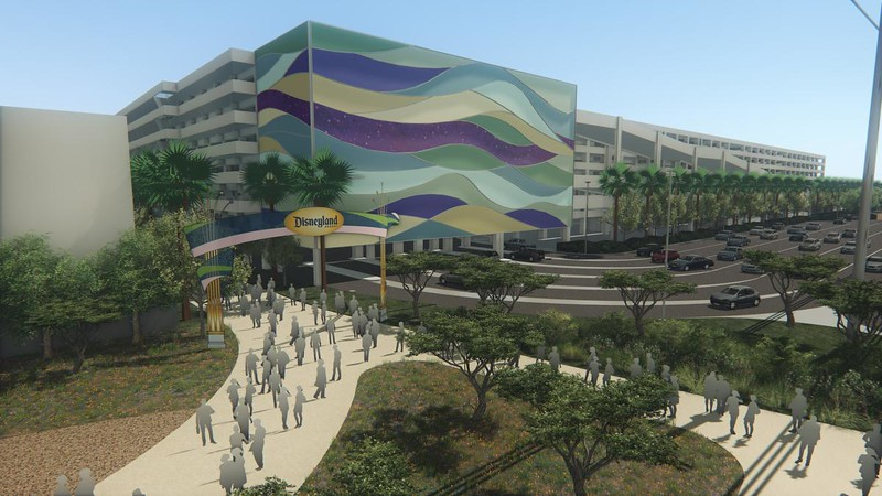 Disney intends to create a new transportation hub, parking structure and a pedestrian bridge over Harbor Boulevard connecting them with Disneyland and Disney California Adventure ahead of the opening of ÒStar WarsÓ land in its signature theme park. Above, a view from the south end of the parking structure off of Disney Way.<br /> (Rendering courtesy of  the Disneyland Resort)